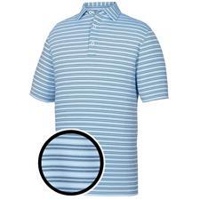 FootJoy Sky-Navy-White Lisle Pinstripe Athletic Fit Self Collar Polo