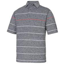 FootJoy Black-White-Geranium Lisle Space Dye Engineered Stripe Self Collar Polo