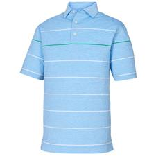 FootJoy Sky-White-Kelly Green Lisle Space Dye Engineered Stripe Self Collar Polo