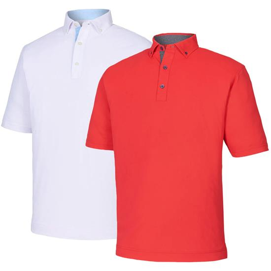FootJoy Men's Pique Solid w/ Dot Print Button Down Collar Polo