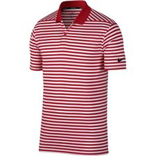 Nike University Red-White-Black Dry Victory Stripe Polo