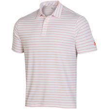 Under Armour White-Orange Spark Playoff 2.0 Tour Stripe Polo