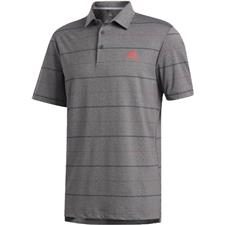 Adidas Black Melange-Real Coral-Black Ultimate365 Heathered Stripe Polo Shirt