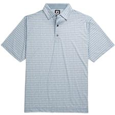 FootJoy Blue Fog-White Lisle Gingham Fray Print Self Collar Polo