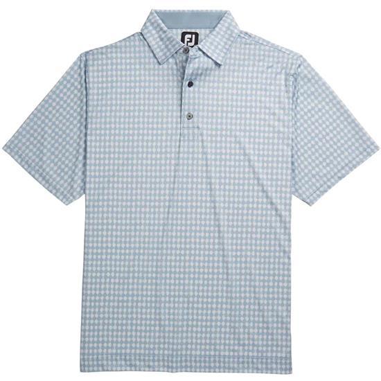 FootJoy Men's Lisle Gingham Fray Print Self Collar Polo