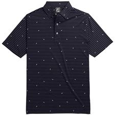 FootJoy Men's Lisle Stripe Leaf Print Self Collar Polo