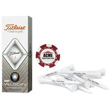 Titleist Custom Logo Velocity, Red Chip Marker and Tee Kit