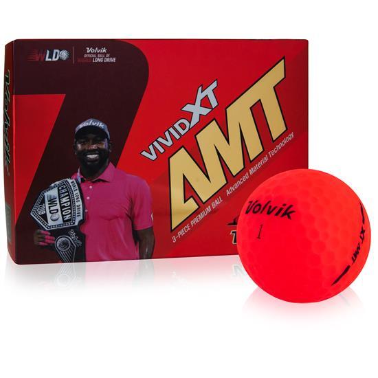 Volvik Vivid XT AMT Logo Matte Red Golf Balls