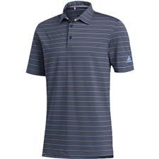 Adidas Collegiate Navy-Sky Tint-Light Blue Ultimate365 Pencil Stripe Polo Shirt