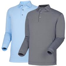 FootJoy Men's LS Thermolite Birdseye Jacquard Self Collar Polo