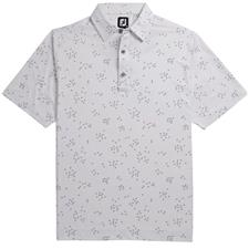 FootJoy White-Grey Lisle Flock of Birds Print Self Collar Polo