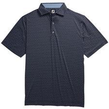 FootJoy Black-White-Royal Lisle Ogee Print Spread Collar Polo