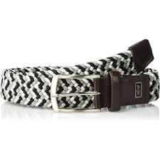 Greg Norman Braided Stretch Belt - 34 - Black-White-Gray