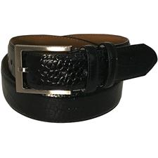 Greg Norman Croco Print Leather Belt - 34 - Black