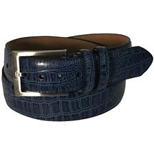 Greg Norman Croco Print Leather Belt - 34 - Blue