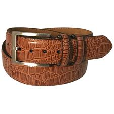 Greg Norman Croco Print Leather Belt - 34 - Brown