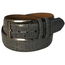 Greg Norman Croco Print Leather Belt - 36 - Gray