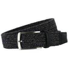 Greg Norman Heather Braided Stretch Belt - 34 - Light Gray-Dark Gray-Black