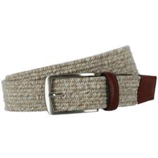 Greg Norman Heather Braided Stretch Belt - 34 - Khaki-Cream