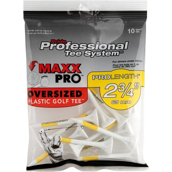Pride Sports MaxxPro PTS Plastic 2-3/4 Inch Golf Tees - White -