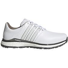 Adidas White-White-Dark Silver Metallic Tour360 XT Spikeless 2 Golf Shoes
