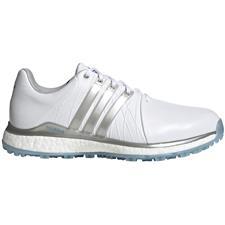 Adidas White-Silver Metallic-Light Blue Tour360 XT Spikeless Golf Shoes for Women