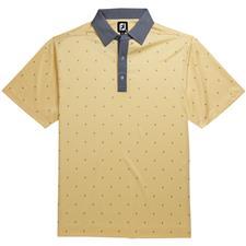 FootJoy Light Yellow-White-Slate Prev Season Birdseye Argyle Print Self Collar Polo