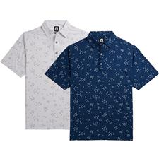 FootJoy Men's Lisle Flock of Birds Print Self Collar Polo