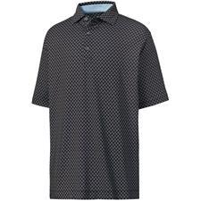 FootJoy Black-White-Royal Prev. Season Lisle Ogee Print Spread Collar Polo