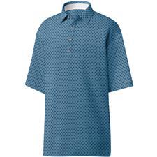 FootJoy Blue-Grey-Black Lisle Palm Print Self Collar Polo