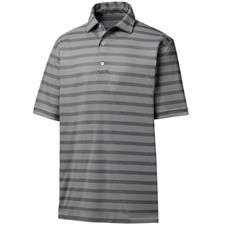 FootJoy Charcoal-White Nailhead Jacquard Stripe Self Collar Polo