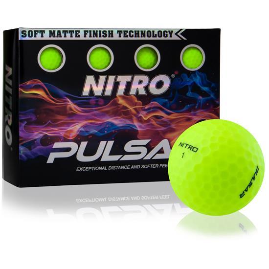 Nitro Pulsar Matte Finish Yellow Golf Balls