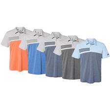 Adidas Men's Heathered Colorblock 3-Stripes Sport Shirt