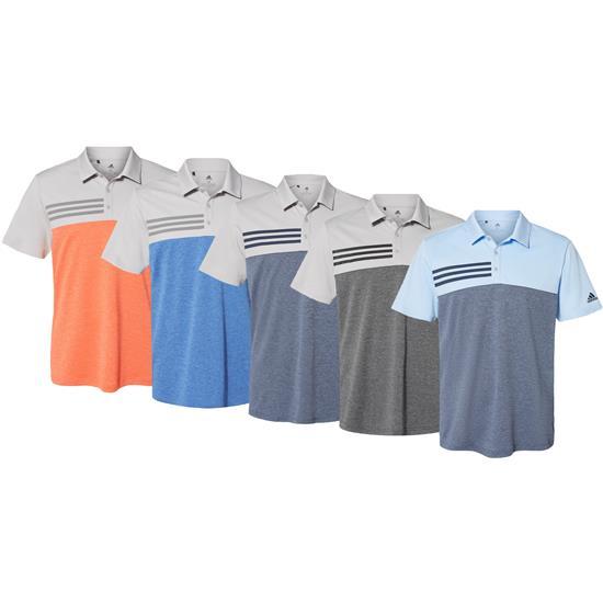 Adidas Men's Heathered Colorblock 3-Stripes Sport Shirt