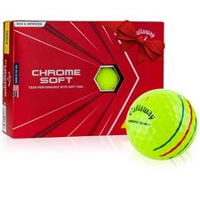 Callaway Golf 2020 Chrome Soft Yellow Triple Track Personalized Golf Balls