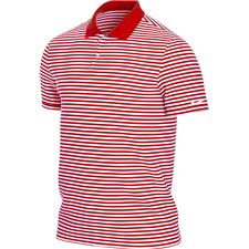 Nike University Red-White Dri-Fit Victory Stripe Polo
