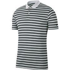 Nike White-Pure Platinum-Black-Black Dri-Fit Victory Stripe Polo