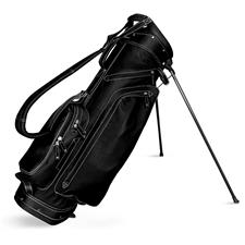Sun Mountain Leather Stand Bag - Black-White