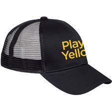 Play Yellow Men's 6 Panel Mesh Structured Trucker Hat