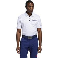 Adidas White-Dark Blue Print USA Golf Polo Shirt