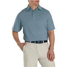 FootJoy Deep Blue-Mint Lisle Feeder Stripe Self Collar Polo