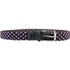 Greg Norman Braided Stretch Belt - 34 - Red-Gray-Navy-White