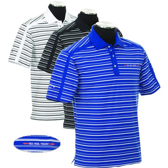 Callaway Golf Men's Chev Linear See Feel Trust Logo Stripe Polo