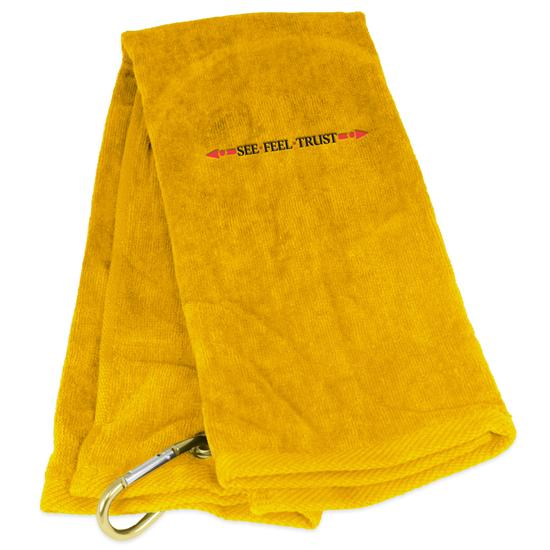 Tri-Fold Linear See Feel Trust Logo Golf Towel