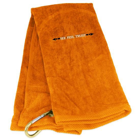 Tri-Fold Linear See Feel Trust Logo Golf Towel