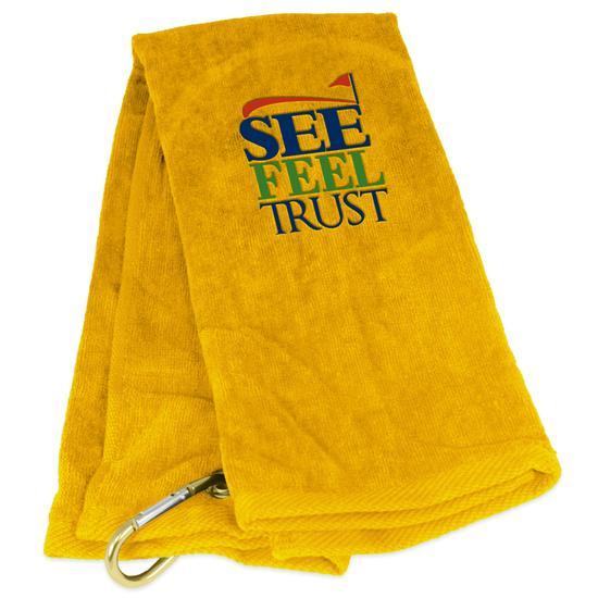 Tri-Fold See Feel Trust SFT Logo Golf Towel
