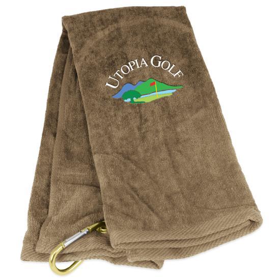 Tri-Fold Utopia Golf Logo Golf Towel