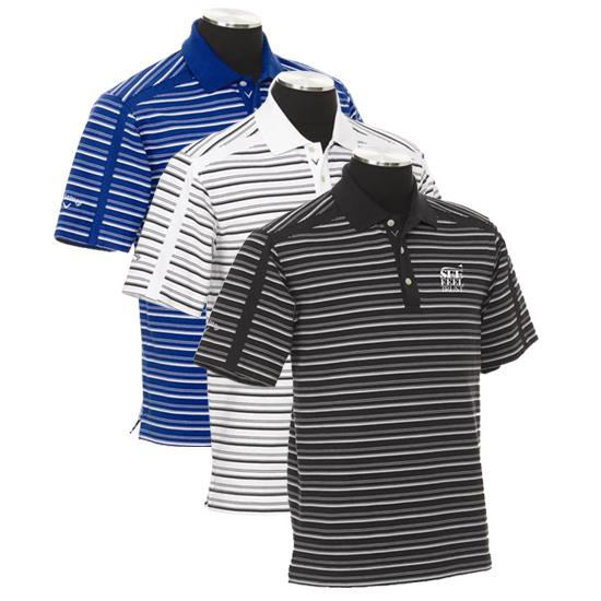 Callaway Golf Men's Chev See Feel Trust SFT Logo Stripe Polo