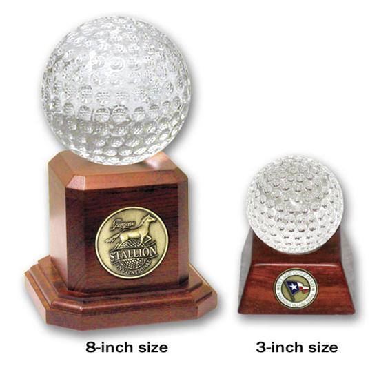 Logo Golf Crystal Golf Ball Trophy