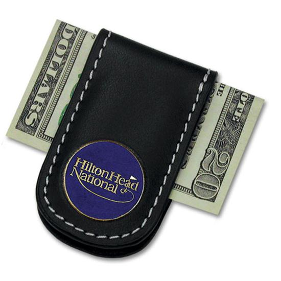 Logo Golf Leather Money Clip w/ Magnet